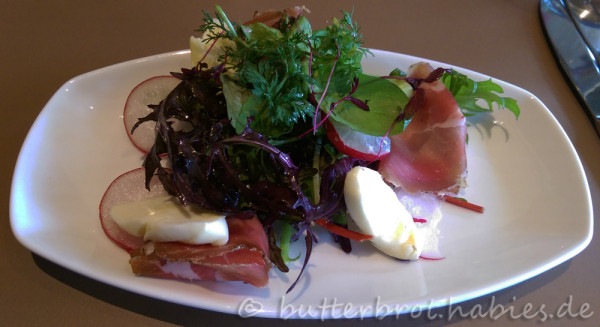 Frühlingssalat mit mariniertem Chursdorfer Büffelmozzarella und Meissner Coppa